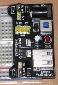 Top view -- breadboard placement and topside output pins